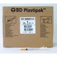 B-D Plastipak spuit + naald steriel doos 100 stuks