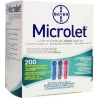 Bayer Microlet bloedlancetten gekleurd 200 st.